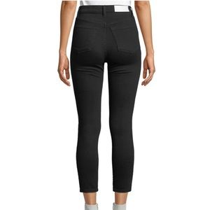 RE/DONE High-Rise Ankle Crop Skinny Black Jeans